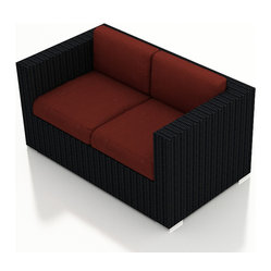 Urbana Modern Outdoor Loveseat, Henna Cushions