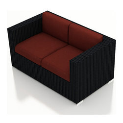 Harmonia Living - Urbana Modern Outdoor Loveseat, Henna Cushions - Finally, the perfect weather resistant, lightweight, comfortable, attractive loveseat for your outdoor entertainment space is available. No more lugging heavy, rusted, smelly furniture to and fro each time it rains. This American made, outdoor wicker settee is the answer to your persistent patio equipment problem.