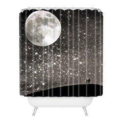 DENY Designs - Shannon Clark Love Under The Stars Shower Curtain - Who says bathrooms can't be fun? To get the most bang for your buck, start with an artistic, inventive shower curtain. We've got endless options that will really make your bathroom pop. Heck, your guests may start spending a little extra time in there because of it!
