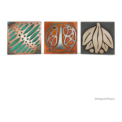 """Arts and Crafts Tiles - Individual 6.25"""" x 5"""" in various finishes - Tiles have always been a mainstay in the Arts and Crafts Movement. Atlas offers Individual Arts and Crafts House Number and Letter Tiles. And, to make your display really special, Atlas offers complementary Arts and Crafts Accent Tiles."""