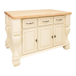 "Antique White Island with Three Drawers/Cabinets - This island features three drawers and three cabinets on one side and adjustable display shelves on the other.  Drawers are made of dovetailed solid wood and are mounted on full extension slides.  Coordinating decorative hardware is included.  Maple grain butcher block top is 1 ¾"" thick."