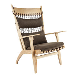 Stilnovo Susa Lounge Chair - The Susa Lounge Chair is made from solid ash in natural finish with rope lanyard and fabric cushions.