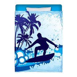 """Surfer Bedding - Made In USA """"Surf's Up"""" Surfer Bedding Twin Comforter - Surf Into Your Bed With This Premium """"Surf's Up"""" Twin Size Comforter From Our Surfer Bedding Bed and Bath Collection."""