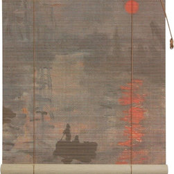 Oriental Furniture - Impression Sunrise Bamboo Blinds - (72 in. x 72 in.) - Bring the artistic mastery of Claude Monet to your living room with these stunning bamboo matchstick blinds. Built from all natural materials and printed with a high definition rendering of  Impression, Sunrise , this beautiful blind is perfect for any lover of fine art.