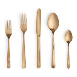 Design Within Reach - Almoco Flatware 5-Piece Setting, Copper - Every party needs an element of surprise, and that's where this copper-colored flatware comes in. At just $50, this set is one that all of your guests will love.