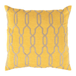 """Surya - Square Linen Pillow COM-004 - 22"""" x 22"""" - The lovely trellis design paired with bold, expressive mustard and beige coloring allows this pillow to immediately become the focal point to your room. This pillow made in India provides a reliable and affordable solution to updating your home's decor."""
