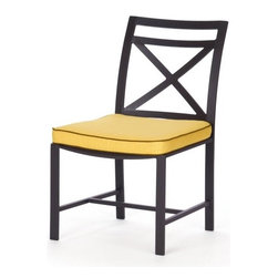Caluco San Michele Side Chair - Contemporary in its design, the Caluco San Michele Side Chair has sleek lines and refined curves which adds an elegant European flair to your deck or patio. Crafted from strong, rust-resistant tubular aluminum, this side chair has a powder coated aluminum frame with a deep charcoal gray finish. A clear coat is added to the frame to ensure maximum UV protection while making the chair fade- and chip-resistant. Fully welded at the corners for extra durability, this chair features stainless steel hardware as well as weep holes throughout so moisture can exit the frame. Lush, comfortable cushions are included in your choice of color so you can complement your existing patio decor. Perfect as part of a patio dining set or as a stand-alone-piece, this beautiful and comfortable chair is a great addition to your patio furniture.Additional FeaturesDesigned with a contemporary European flairFeatures sleek lines and refined curvesClear coat provides maximum UV protectionFade- and chip-resistantFully welded for extra strength and longevityEasy to maintain with mild soap and waterAdjustable nylon glidesStainless steel hardwareWeep holes allows moisture to exit the frameAbout CalucoCaluco Patio Furniture is a direct importer of high-end outdoor patio furniture. They specialize in providing Grade A aluminum, teak and wicker furniture, expertly manufactured, and sold to you at affordable prices. Their outdoor patio furniture is shipped directly to their 40,000 square foot facility in San Fernando, California; and from their facility, they ship it directly to you. Their clients choose them for their expertise and their ability to combine high end quality with customer care, without the high-end pricing.