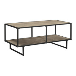 Industrial Wooden TV Stand / Coffee Table - A slim profile gives this fashionable TV stand its sleek, contemporary looks. A great addition to virtually any décor, it features an industrial-chic metal frame . The top of the table and lower shelf feature a gorgeous Sonoma Oak wood grain finish, giving it a more warm, inviting feel. The large top offers ample room for your widescreen TV, while the lower shelf provides space for your cable box, DVD player or other components.