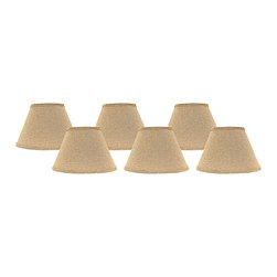 "Lamps Plus - Country - Cottage Set of 6 Heavy Basket Lamp Shades 4x6x5.25 (Clip-On) - These adorable lamp shades come in a set of six and feature a heavy basket weave fabric in a neutral tone. The clip-on fitter allows you to easily incorporate these shades into your decor and the chrome hardware provides a hint of sparkle. A perfect accent to dress up a set of small table lamps. Crafted in the Indiana workshops of A'Homestead Shoppe. Set of 6. Empire hardback shade. Neutral tone. Made in USA. Heavy basket weave cotton fabric. Clip-on fitter. Unlined. Recommended for use with 25 watt candelabra bulbs 4"" across the top. 6"" across the bottom. 5 1/4"" on the slant.  Set of 6.  Empire hardback shade.  Neutral tone.  Made in USA.  Heavy basket weave cotton fabric.  Clip-on fitter.  Unlined.  Recommended for use with 25 watt candelabra bulbs  4"" across the top.  6"" across the bottom.  5 1/4"" on the slant."