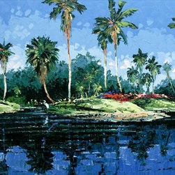 """Blue Lagoon 24x32 Print - """"Blue Lagoon"""" is a tropical canvas giclee by Joseph LaPierre.  This 24x32 canvas is gallery wrapped . We take the fine art canvas and stretch it over a wooden frame, adhering the canvas to the backside of the frame. The canvas actually wraps around the edges of the frame, giving your print the look of a fine piece of art, such as you might find in an art gallery. There is no need for a picture frame. Your piece of art is ready to hang or lean against a wall, or display on an easel."""