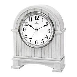 BULOVA - Pembroke Antique White Mantel Clock - Wood and wood veneer case