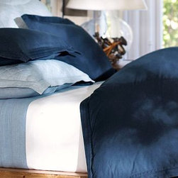 Casual Cotton Duvet Cover, Full/Queen, Midnight Blue - A great choice for the bedroom or guestroom, our pin-tucked bedding has the soft, casual character of a favorite pair of jeans. Made of pure cotton. Duvet cover and sham reverse to self. Duvet cover has interior ties and a button closure. Sham has an envelope closure. Duvet cover, sham and insert sold separately. Machine wash. Imported.