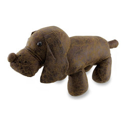 Zeckos - Distressed Leather Look Standing Dog Door Stop 17 In. - With a distressed leather look finish, this dog will lend you his paws and let the breeze blow by or hold back the wind without even making a sound. Crafted from polyester blend materials, filled with sand, and measuring 17 inches (43 cm) long, 9 inches (23 cm) high and 6 inches (15 cm) wide, this charmingly cute pup can always make the perfect useful gift to give to friends, family or even simply for the dog-lover in you. Sturdy, yet adorable, this canine companion wants to express his manners and hold the door open for you