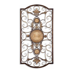 Uttermost - Uttermost Micayla Decorative Wall Art in Distressed Chestnut - Shown in picture: Distressed Chestnut Brown With Burnished Edges And Antiqued Gold Details. This decorative wall art is made of hand forged and hand embossed metal. The finish is distressed - chestnut brown with burnished edges and antiqued gold details. Companion piece is item #13475.
