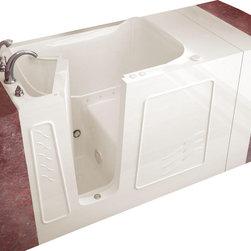 """Meditub - Meditub 3053 30"""" x 53"""" x 38"""" Gel Coat Hydro Tub - The Meditub 30""""x53"""" is a beautifully constructed walk in tub that will fit into any US standard 60 tub opening. This walk in tub is available with a right or left inward swinging door and is constructed from heavy duty reinforced fiberglass with a gel coat finish. Its equipped with an ADA Compliant 17 contoured seat providing ultimate comfort. This walk in bath tub is available in several variations such as whirlpool only, air only, with a combination of both whirlpool and air systems (dual system), or as a soaker, with no jets at all. All of our water massage jets have a 360 degree range of motion to provide maximum comfort and versatility. Sit down and immerse yourself in a relaxing atmosphere, while all your stress disappears. This 30""""x53"""" walk in tub includes adjustable feet for easy installation and leveling."""
