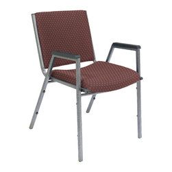 National Public Seating - National Public Seating 9400 Series Upholstered Stack Chair w/ Arms in Diamond B - Give your audience and guests a comfortable and attractive place to sit with National Public Seating's 9400 Series Heavy-Duty Upholstered Stack Chair with Arms. The chair has a contoured seat with 2 Inch-thick padding, plus sturdy arms with plastic arm rests so individuals stay focused on lectures, services and presentations. This attractive chair features an 18-gauge steel frame and front and rear leg strengtheners for extra support. Eight plastic bumpers allow you to stack up to 10 chairs without scratching the silvervein powder-coat paint finish. Choose from several high-quality fabric colors for the upholstery. The National Public Seating 9400 Series Heavy-Duty Upholstered Stack Chair with Arms is backed by a ten-year warranty.