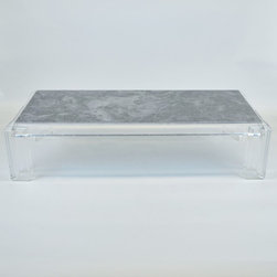 Mid Century Les Prismatiques Lucite & Gray Marble Coffee Table - Dimensions:L 68''  × W 30''  × H 17''