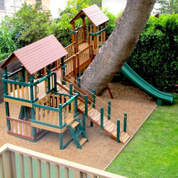 Budget Playsets (Monkey Packages) - Monkey Package 4 with bridge, gang plank, wood roofs, 7ft super slide and 3/4 bottom enclosure.