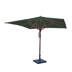 Greencorner - 10'x10' Mahogany Umbrella, Forest Green - 10'x10' Square