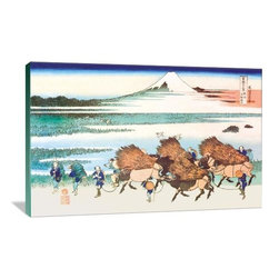 """Artsy Canvas - Merchants Travel To Market Viewing Mount Fuji 36"""" X 24"""" Gallery Wrapped Canvas - Merchants Travel to Market in View of Mount Fuji - Katsushika Hokusai (1760 beautifully represented on 36"""" x 24"""" high-quality, gallery wrapped canvas wall art"""