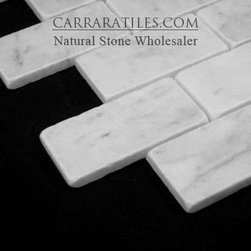 Carrara Marble Italian White Bianco Carrera 2x4 Mosaic Tile Tumbled - Bianco Carrara Marble Brick 2x4 Mosaic Tile is also known as White Carrera Marble Brick 2x4 Mosaic Tile. Premium grade marble brick 2x4 mosaic tile is perfect for both residential and commercial projects. Marble Brick 2x4 Mosaic Tiles are mainly preferred as backsplash tiles for their clean, aesthetic qualities. A large selection of coordinating products are available, including Carrara basketweave mosaics, Carrara herringbone mosaics, Carrara hexagon mosaics, 3x6 marble subway tiles, 6x12 marble subway tiles, 12x12 Carrara marble tiles, 4x4 Carrara marble tiles, Carrara borders, Carrara moldings and Carrara baseboards, each available in honed, polished and tumbled finishes.