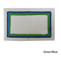 None - Canon Border Cotton 20 x 30 Bath Rug (Set of 2) - These thick bath rugs easily absorb water and feature a uniquely charming design. The reverse side is sprayed with a latex backing that keeps the rug from sliding on the floor.
