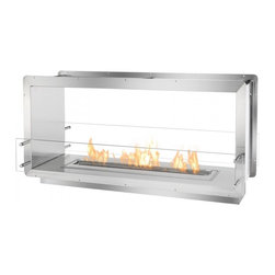 "Ignis - 52"" Double-Sided Ethanol Burning Firebox Fireplace Wall Insert - The Ignis FB3600D See-Through Ethanol Firebox creates a two-sided ethanol fireplace designed to be built into the wall with the benefits of the fireplace shared by two separate spaces. This ethanol burning fireplace uses patent-pending technology that sets the level of safety apart from its competitors. In addition to its higher level of safety, the FB3600D, an ethanol fireplace insert designed by Ignis Development, burns Eco-Friendly bio ethanol fireplace fuel. Because this carbon-neutral fuel doesn't release toxins into the air, this firebox is ventless."