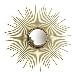 """Two's Company - Two's Company Antiqued Gold Starburst Sunburst Wall Mirror 39.75"""" Diameter - From Two's Company ~ This beautiful Sunburst™ Antiqued Gold Wall Mirror is a perfect depiction of the sun in that it has the power to transform a room by reflecting and multiplying light. This mirror is both functional and artistic."""