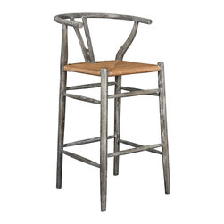 """Bungalow 5 - Bungalow 5 Oslo Gray Limed Oak Barstool - The Oslo barstool by Bungalow 5 pays homage to the mid-century modern lines of Hans J. Wenger's iconic Wishbone chair. Finished in gray limed oak with a natural rope seat, it boasts a sculptural Y-shaped splat and curved back. 18.5""""W x 18""""D x 31""""H; Solid oak; Gray limed finish"""