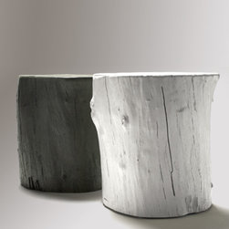 Knotty Stool - These funky hollow-cast concrete tree stumps make fabulous outdoor side tables or extra seating. If you want to bring nature inside, just add the optional sliders and roll the Knotty Stool indoors.