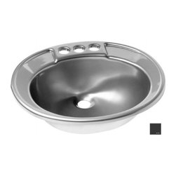 "Lyons Industries - Lavatory Sink, 19.5""L x 17""W Single Bowl 6"" Deep Acrylic, Drop-in Sink - Lyons Industries Black acrylic Drop-In style Lavatory sink with a 6"" deep bowl. This self rimming 19.5"" x 17"" sink is easy to install and is convenient for use with laminate, Granite, wood or solid surface vanity tops. The Drop in Lavatory sinks have two convenient integral soap dishes and 4"" faucet centers. This sturdy sink has durable easy to clean high gloss acrylic construction with a fiberglass reinforced insulation backer. This sink is quiet and provides a superior heat retention than other sink materials. Lyons sinks come with a simple mounting tab and clip system to firmly fasten the sink to the countertop and reinforced drain areas Detailed installation instructions include the cut-out specifications. Lyons sinks are proudly made in America by experienced artisans supporting our economy."