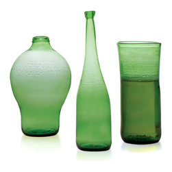 Esque - Bud Vasers, Cylinder, 24oz - Who knew that beer bottles could look so chic? These enjoy a second life when they are heated by artisans and reshaped into one-of-a-kind flower vases. Display a single long stem or cluster them into an artful vignette for an eclectic look.