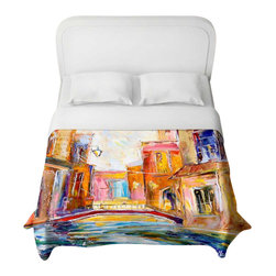 DiaNoche Designs - Venice Magic Duvet Cover - Lightweight and super soft brushed twill duvet cover sizes twin, queen, king. Cotton poly blend. Ties in each corner to secure insert. Blanket insert or comforter slides comfortably into duvet cover with zipper closure to hold blanket inside. Blanket not included. Dye Sublimation printing adheres the ink to the material for long life and durability. Printed top, khaki colored bottom. Machine washable. Product may vary slightly from image.
