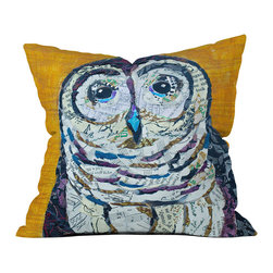 DENY Designs - DENY Designs Elizabeth St Hilaire Nelson Hoot 2 Throw Pillow - Owl Eyes. You won't mind being watched when you've got this adorable graphic pillow perched on a sofa or chair. The Elizabeth St Hilaire Nelson Hoot 2 Throw Pillow features a paper pattern owl collage against a mustard yellow background, and pairs well with solid colors. Like all textile products from DENY Designs, the Hoot 2 Throw Pillow is custom made for each customer using a dye printing process where the ink is dyed directly into the fabric, keeping pillows fade-resistant and vibrant. That deserves a Woo-Hooooo!Made in the USACustom print for each orderWoven polyester