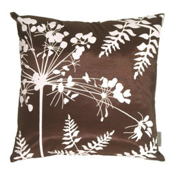 Pillow Decor - Pillow Decor - Brown with White Spring Flower and Ferns Pillow - This series of pillows are very versatile, and coordinate beautifully together. The patterns are also in reverse for endless combinations. The graphic botanical print is clean and contemporary, and the fabric is sleek with a slight shimmer. Give your furniture an instant style makeover with a collection of these fresh designs!