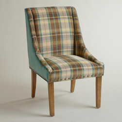 Plaid and Teal Green Wes Dining Chair - Add a touch of softness by using upholstered chairs at the ends of your dining table. This one's plaid fabric screams cozy and beckons you to sit and linger after gorging on turkey.