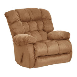 Catnapper - Teddy Bear Chaise Rocker Recliner w Pillow So - Hugs you as you recline. Comfortable plush arms. Pillow soft chaise pad seat. Durable steel seat box. Unitized steel base. The strongest, most durable base in the recliner industry. Resists bending or wear. Reclining Mechanism:. Installed with noiseless sure-lock spring clips. Strongest recliner seat box available. No warping or splitting in this critical area (standard on most models). Direct drive cross bar ensures that both sides of the mechanism operate together, in sequence, for longer life. Heavy 8-gauge sinuous steel springs in the seat provide strength, comfort and flexibility. Made of 100% polyester suede with padded foam back. Cleaning Method:. Clean only with water-based shampoo or foam upholstery cleaner. Do not over wet. Do not use solvent. Do not saturate with liquid. Pile fabrics may require brushing to restore appearance. Cushion covers should not be removed and laundered. Pictured in Saddle. No assembly required. Limited lifetime warranty. 40 in. L x 42 in. W x 43 in. H (115 lbs.)