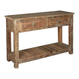 Sierra Living Concepts - Rustic Reclaimed Wood Hall Console Table - The traditional look of rustic furniture keeps things relaxed and comfortable.