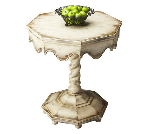 Butler Specialty Furniture - Artists' Originals Octagonal Accent Table 2132258 - This gorgeous octagonal table is a perfect addition to most any space. It features a distinctively carved twist pedestal, a scalloped apron and a raised octagonal base. Hand painted in alabaster and crafted from poplar hardwood solids and wood products, it features an aged oak veneer top with a highly distressed, undulated finish. Only listed product included.
