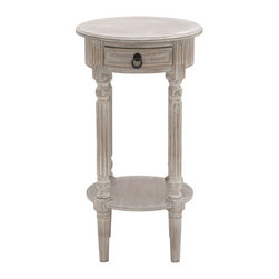 ecWorld - Urban Designs Hand-finished Petite Round Wood Accent and End Table - Grey - Fresh like a cool breeze and just as soothing, this piece is subtle yet impossible to ignore, and once you have brought it home, you will want it to stay for good. Form and function make this piece a must have addition to any decor.