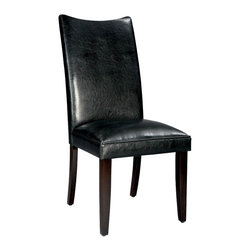 Standard Furniture - Standard Furniture La Jolla Parson's Chair in Black Vinyl (Set of 2) - Parson's Chair in Black Vinyl belongs to La Jolla collection by Standard Furniture. Add a taste of contemporary sophistication to your dining area with a pair of elegant dining chairs. Cherry color legs. Semi PU chairs are available in black or brown and velvet chairs are available in taupe, red, spa, green, and yellow colors.