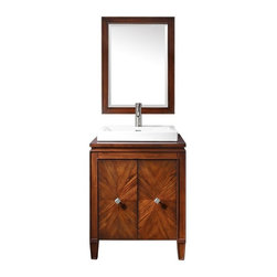 Avanity - Avanity BRENTWOOD-VS25-NW Brentwood 25 in. Single Bathroom Vanity with Optional - Shop for Bathroom from Hayneedle.com! Your bathroom deserves fancy furniture just like the rest of the house. The Avanity Brentwood VS25-NW 25 in. Single Bathroom Vanity with Optional Mirror is just the piece to make that happen. This vanity features a solid poplar wood base with high-quality veneers that is finished in a rich walnut tone to show off the natural beauty of the grain. A pair of soft-close doors with an intricate starburst pattern and square old-nickel finished hardware conceal spacious storage and an adjustable shelf perfect for all those must-have items. The classic framed details around the edges and door faces are contrasted with the sleek modern form of the square semi-recessed vitreous china sink. The vanity top is not pre-drilled for a faucet so you can choose the best configuration and placement for your needs. Adjustable levelers on the base ensure secure footing on any surface. Choose to add the matching rectangular mirror with a wood frame and beveled edge to make your bathroom re-design complete. About Avanity CorporationAvanity's goal has always been to provide the public with the best products possible at the fairest prices. To this end their customer service style is about listening to their customer not just hearing them. Avanity is confident in all of their products and provides a one-year manufacturer's warranty to prove it. Avanity also takes note of increasing market trends to stay ahead of the game and provide the most cutting-edge products available.