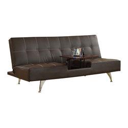 Adarn Inc - Modern Brown PU Adjustable Futon Sofa Bed Sleeper wwith Hidden Table Chrome Legs - Features: