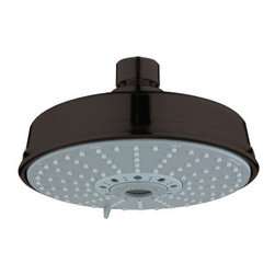 "Grohe - Grohe 27130ZB0 Oil Rubbed Bronze Rainshower Rustic Rainshower Rustic - Product Features:Covered under Grohe s limited lifetime warrantyPremier finishing process - finishes will resist corrosion and tarnishing through everyday useGrohe shower heads will surprise and delight the user with every interactionThe perfect synthesis of form and functionMulti-function water jet shower headShower Head Width: 6-9/16""Shower Head Depth: 3-7/8""Shower head rotates on a swivel ball assembly for full-body coverageFlow Rate: 2.5 GPM (gallons-per-minute)Designed to easily install with standard U.S. plumbing connectionsAll hardware required for installation is includedProduct Technologies / Benefits:DreamSpray: The exceptional quality, precision and sheer number of internal parts set these Grohe showers apart from the competition. This unique design distributes the same amount of water to each and every nozzle, resulting in an even spray. So whatever spray pattern suits your mood, it is guaranteed that it will be an all-around exhilarating experience.SpeedClean: Never letting hard-water or grime stop you from enjoying your showerhead to the fullest. Showerheads with GroheÂ's SpeedClean technology have spray nozzles made of high quality silicon material. A simple wipe of a finger ensures a like-new water flow. Yet another way Grohe ensures you make the most of your water experience.About Grohe:At Grohe design goes deeper than just aesthetic trappings. It is a quality feature and is targeted toward the perfect synthesis of form and function. The result is joyous experience you have every time you use one of their products. Grohe subscribes to a straight forward and consumer-centric design philosophy; grounded in the belief that good design must transcend form and function to create an emotional bond with its users. With a"