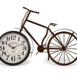 "Imax Worldwide Home - Higdon Bicycle Clock - Unique and fun bike clock, made with a rustic finish; Country of Origin: China; Weight: 1 lbs; Dimensions: 12.75""h x 19.5""w x 3""d"