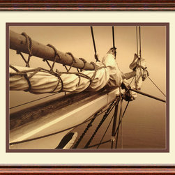 Amanti Art - Breaking the Mist II Framed Print by Frederick J. LeBlanc - Photo Op: This stunning photographic print gives you the chance to appreciate the fine art of sailing all without actually getting wet. And while you're taking the helm of decorating your room, consider that this print is custom framed and matted, ready to hang!