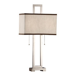 Crestview - Metal Infinity Table Lamp - This lamp has all the right moves — and all the right angles — thanks to its rectangular-shaped base, body and shade. The brushed-nickel finish adds modern gleam and the oatmeal and dark-chocolate-trimmed shade looks yummy.