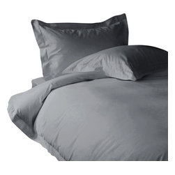 """600 TC Sheet Set 15"""" Deep Pocket with Duvet Cover Solid Silver Grey, Queen - You are buying 1 Flat Sheet (98 x 102 inches), 1 Fitted Sheet (60 x 80 inches), 1 Duvet Cover (88 x 88 Inches) and 2 standard size Pillowcases (20 x 30 inches) only."""