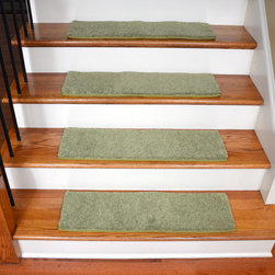 "Dean Flooring Company - Dean Non-Slip Pet Friendly DIY Carpet Stair Treads 30""x9"" (15) - Citrus Green - Quality stylish ultra premium stair gripper non-slip carpet stair treads by Dean Flooring Company. Extend the life of your high traffic hardwood stairs. Reduce slips/increase traction. Cut down on track-in dirt. Great for pets and pet owners. Made in the USA from quality, long lasting stain resistant carpeting with non-slip padded foam backing. Stands up great to high traffic. A fresh new look for your staircase. Do-it-yourself installation is quick and easy with our unique non-slip backing. Simply place your stair tread rugs on your staircase and go. No tapes, adhesives, staples, glue, or Velcro needed. And rest assured, they won't move and they won't damage your hardwood either. They are also simple and easy to remove as well with no sticky residue left behind. Each tread is finished on all four sides with attractive color matching binding tape. No bulky fastening strips. You may remove your treads for cleaning and re-attach them when you are done. Add a touch of warmth and style to your stairs today with new stair treads from Dean Flooring Company! We make our own stair treads at Dean Flooring Company and our products are not available from anyone else."