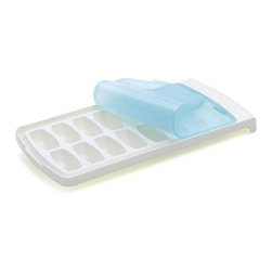 OXO® No-Spill Ice Cube Tray - Simply ingenious design puts the lid on spills and allows for stacking multiple trays without leaks or odor absorption. Specialty rounded cubes release easily and make a great impression in craft cocktails, iced coffee, jars of lemonade and other cold drinks.